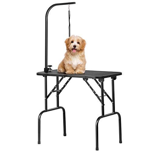 Yaheetech Mesa de Peluquería para Perro Mesa Plegable de Aseo para Mascotas Canina Antideslizante Carga 100Kg Altura Regulable