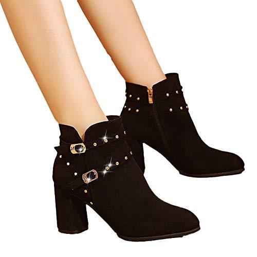 Geili Chelsea Boots Damen Stiefeletten Kurzschaft Wildleder Stiefel mit Blockabsatz Frauen Modische Verzierung Nieten Schnalle High Heels Boots Hoher Absatz Ankle Boots Zip Stöckelschuh