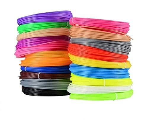 SHALLWE Filamento PLA diametro 1,75 mm, Filamento PLA Stampa 3D per Penna 3D, Precisione Dimensionale +/- 0,02 mm, 20 Colori Assortiti