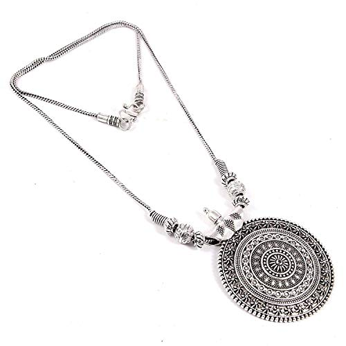 Foxiie Silver Round Pendant Chain Necklace for Girls & Women