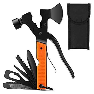 MOAOO Multitool Camping Tool Survival Gear Gifts for Men Dad Husband 14-in-1 Multi tool Perfect for Outdoor Hinking Fishing, Emergency Car tool with Hammer Axe Saw Plier Knife Wrench Bottle Opener