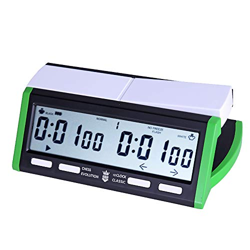 Kimmyer Professionelle Digitale Schachuhr, Timer-Alarmfunktion, Bonusverzögerung, tragbarer USB-Akku für Brettspiele Go