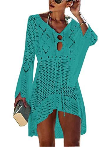 ZIYYOOHY Elegant Crochet Stricken Bikini Cover Up Boho Strandponcho Strandkleid (One Size, zBlau)