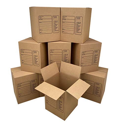 Uboxes Moving Boxes with Handles, 10 Premium Large, 18 x 18 x 24, Brown, BOXINDSLAR10