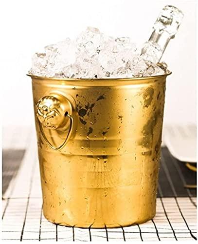 Cubo de hielo grande de 3 l de acero inoxidable, enfriador de vino, perfecto para cerveza de vino, y lo suficientemente grande para cualquier fiesta, cocina, fiesta en el hogar (color: gris)-dorado