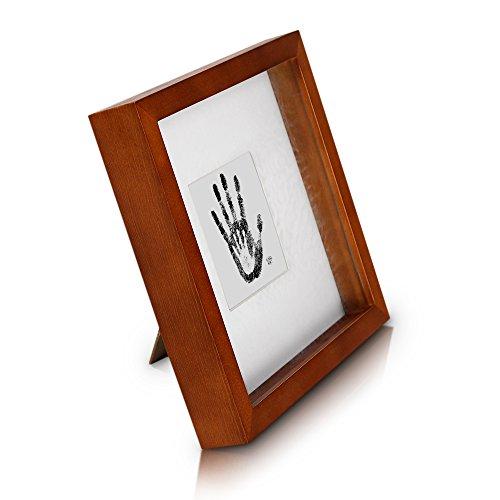 Classic by Casa Chic - Cornice Box per Foto 23x23 cm - Marrone Rustico - 4.5 cm di profondità per Un Effetto Ombra 3D - Passepartout per Foto 10x10 cm - Vetro stratificato - Legno
