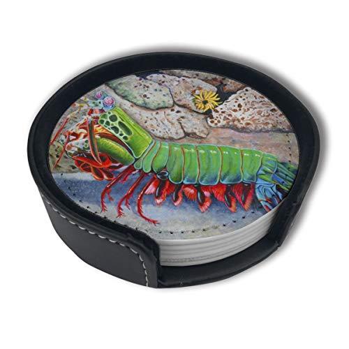 OUYouDeFangA Mantis Dessous de Verre avec Support, Tasses Rondes et Tasses pour Boissons, Convient pour la Maison et la Cuisine (6 pièces)