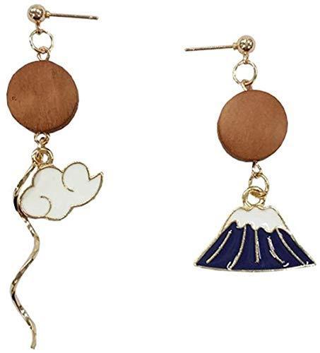 Pendientes Pendientes de nube de temperamento dulce japonés exquisita moda popular clásico asimétrico earri de madera