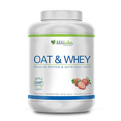 HSLabs Oat & WHEY Protein Powder Whey Milk Egg Protein Combination with Oats Complex Carbohydrates Slow Digesting Breakfast Long Lasting Energy Vanilla Strawberry Chocolate 15 & 38 Servings