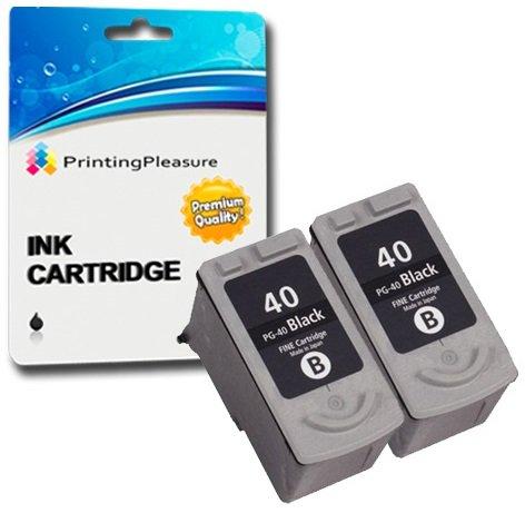 2 SCHWARZ Druckerpatronen für Canon Pixma iP1600 iP1800 iP1900 iP2200 iP2500 iP2600 MP140 MP150 MP160 MP170 MP180 MP190 MP210 MP450 MP460 MX300 MX310 | kompatibel zu PG-40 (PG40)