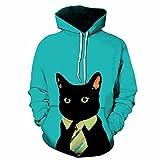 MITEHUAH Caballero Gato Jersey con Estampado Digital For Hombres Y Mujeres Suéter Holgado Informal Ser Otoño Jersey con Capucha Ser Modela (Color : C, tamaño : M)