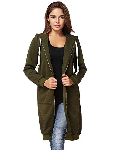 Romacci Damen Kapuzenpullover Lange Kapuzenpullis Beiläufiger Taschen Hoodie Pullover, Grün, 5XL