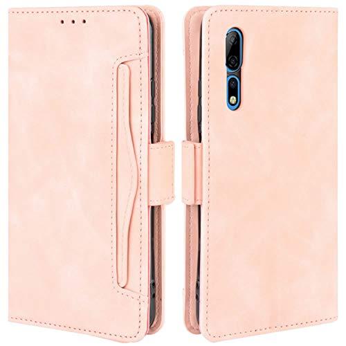 HualuBro Handyhülle für ZTE Axon 10 Pro Hülle Leder, Flip Hülle Cover Stoßfest Klapphülle Handytasche Schutzhülle für ZTE Axon 10 Pro 5G Tasche (Pink)