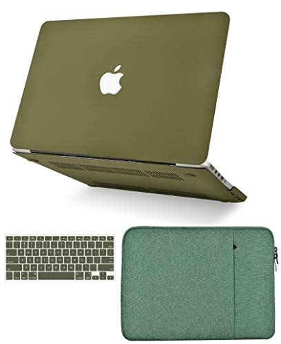 KECC Laptop Case for MacBook Air 13' Retina (2020, Touch ID) w/Keyboard Cover + Sleeve Plastic Hard Shell Case A2179 3 in 1 Bundle (Matte Olive Green)