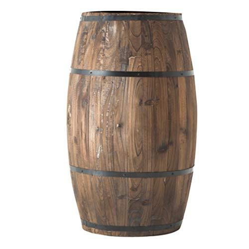 Whiskey Barrel, Eichenfass Weinfass Holzdekoration Hochzeitsfotografie Prop Drum Retro Distressed Blumentopf Dekoration Tingting (Farbe: Braun, Größe: 25H)