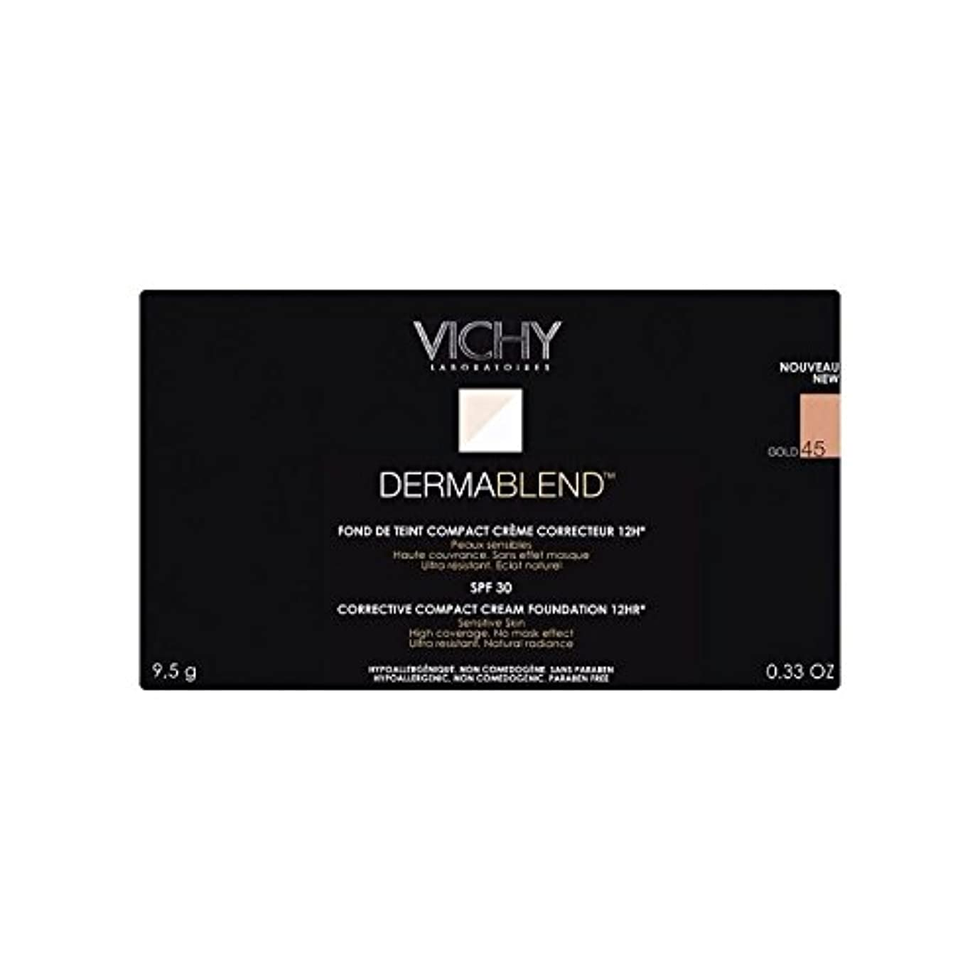 抑制スキニー慣らすヴィシー是正コンパクトクリームファンデーション金45 x4 - Vichy Dermablend Corrective Compact Cream Foundation Gold 45 (Pack of 4) [並行輸入品]