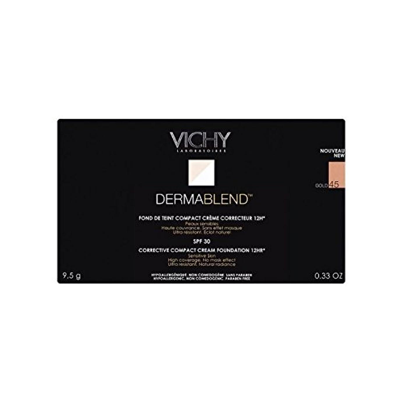 ぬるい雨ペダルヴィシー是正コンパクトクリームファンデーション金45 x4 - Vichy Dermablend Corrective Compact Cream Foundation Gold 45 (Pack of 4) [並行輸入品]