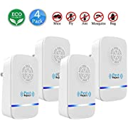 Ultrasonic Pest Repeller Upgraded   Electronic Plug In Pest Control Indoor/Outdoor Use   100% Human & Pet Safe Repellent   For Cockroach, Mosquitoes, Mice, Rats, Spiders, Bugs, Flies, Insects & More