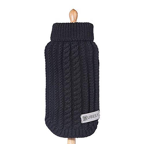 ubest Hundepullover, Sweater Gestrickter Pullover für Kleine Hunde, Hunde Pullover für Herbst Winter, Schwarz, M