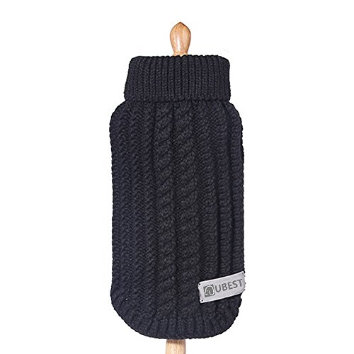 ubest Hundepullover, Sweater Gestrickter Pullover für Kleine Hunde, Hunde Pullover für Herbst Winter, Schwarz, XXS