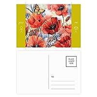 花とカラフルな蝶 友人のポストカードセットサンクスカード郵送側20個