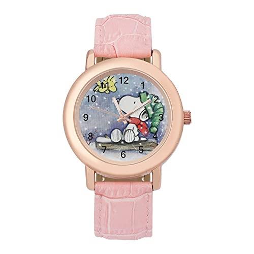 SnoopyLadies Reloj de cuarzo con correa de cuero 2266 espejo de cristal redondo rosa accesorios casuales moda temperamento 1.5 pulgadas