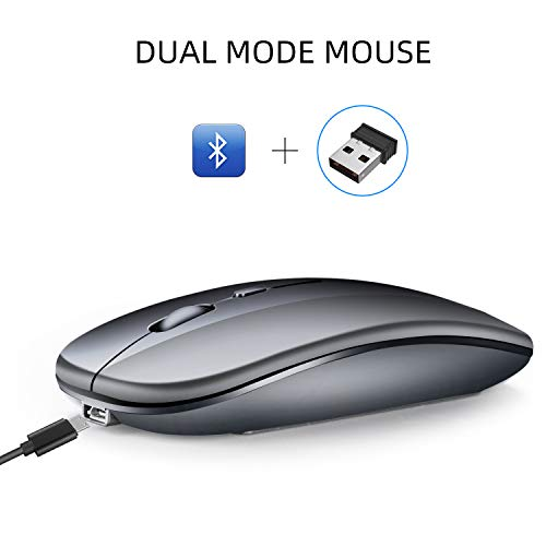 RONSHIN Bluetooth Dual Mode Draadloze 2.4G Muis Mute Ultra-thin voor Laptop Desktop Computer Elektronische Accessoires, as shown, metal gray