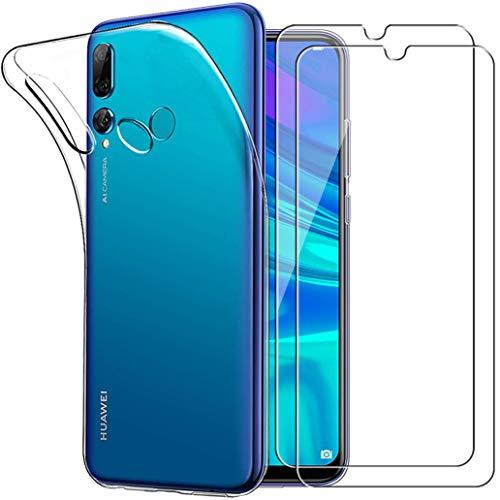 Yoowei Cover per Huawei P Smart Plus 2019 / Cover Honor 20 Lite Trasparente + [2-Pack Pellicola Protettiva in Vetro Temperato], Morbida TPU Silicone Ultra Sottile Custodia Protettiva per Psmart+ 2019
