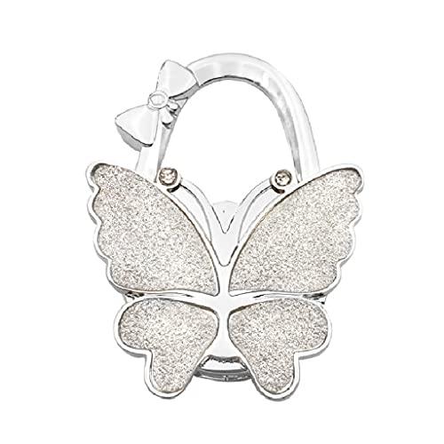 xinying Gancho decorativo plegable para bolso de mariposa, gancho de mesa para mujer, organizador de mesa, llavero (color: blanco mate)