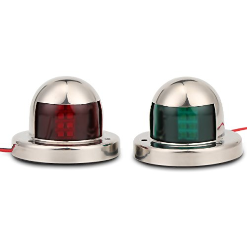 Boot navigatielicht, 2 stuks roestvrij staal groen en rood navigatielichten LED Veiligheid Signal Night Lights Boog Board Lights Marine Boat Jacht-Light 12V