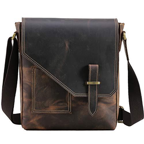TIDING - Borsa a tracolla da uomo in vera pelle, borsa a tracolla, borsa a mano, zaino per la scuola, borsa da lavoro da 10 pollici, borsa da viaggio, sottile, morbida, marrone