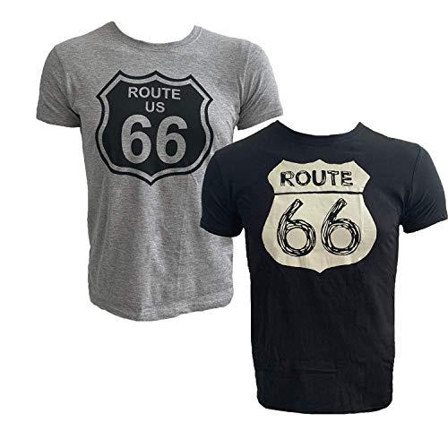 Route 66 Herren Baumwolle T-Shirt - 2er Pack