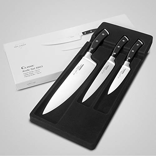 SKY LIGHT Kitchen Knives Set Chef knives Set - Chef Knife Utility Knife Paring Knife German High Carbon Stainless Steel Floged Blade Ergonomic Handle Cooks Knives