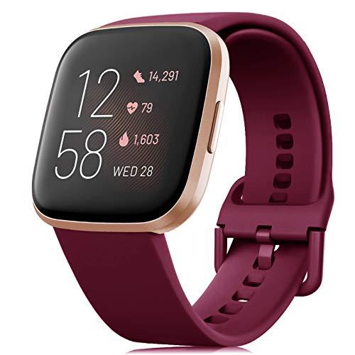 RIOROO Correa Compatible para Fitbit Versa Pulsera/Versa 2 Correa/Versa Lite Correas/Blaze Pulseras,Silicona Banda de Reloj para Hombres Mujeres, Deportivo Recambio de Pulsera Vino Rojo,S