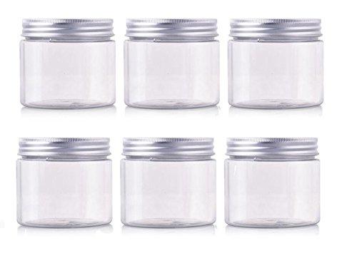 erioctryJuego de 6 recipientes vacíos de plástico PET, con tapa de aluminio plateado, 50/100/150 g, para cosméticos, cremas, maquillaje, , 150G, Transparente,, ]