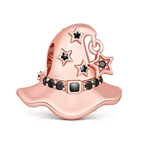 Gnoce Charm Cappello da Strega in Agento S925 Cappello da Strega  Oro Rosa Charm Bead per bracciali e Collana Regalo di Natale per Famiglia Moglie Figlia Amico