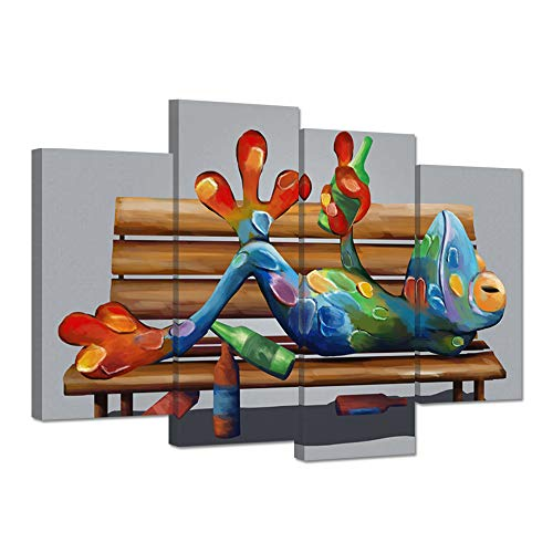 ZingArts 4 Pieces Animal Canvas Art Print Drunk Frog on Long Chair with Wine Bottles Picture Painting on Canvas Stretched and Framed for Modern Home Kitchen Decoration Ready to Hang