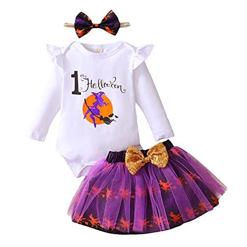 Conjunto de 3 piezas para Halloween de bebé niña con lazo + camiseta estampada de manga larga de encaje + falda corta de gasa estampada, blanco, 6-12 Meses