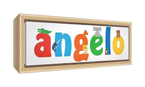 Little Helper LHV-ANGELO-2159-FCNAT-15IT Stampa su Tela Incorniciata Legno Naturale, Disegno Personalizzabile con Nome da Ragazzi Angelo, Multicolore, 25 x 63 x 3 cm