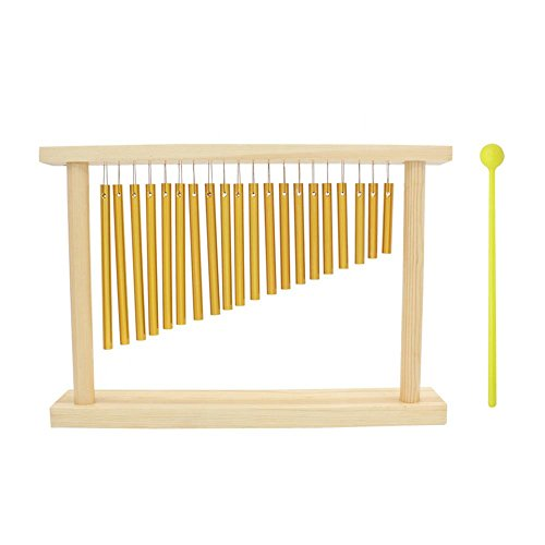 Dilwe 20 Bars Percussion Chimes, Einreihig Musical Percussion Instrument mit Holzständer Stick