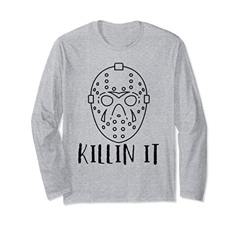 Killin It Halloween Freitag 13. Hockey-Spieler-Maske Kostüm Langarmshirt