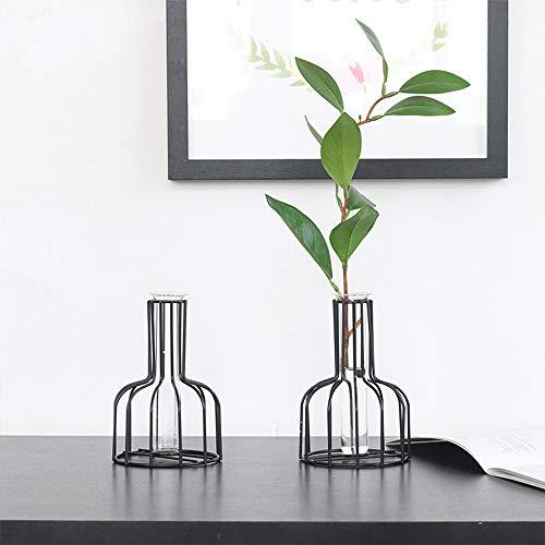 Wankd Tischlampe Bulb Glass Vase aus Eisen | klein modern als Tischdeko Deko Dekoration Geschenk Gestell Natur Tischvase (Schwarz)