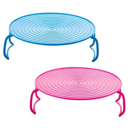Hemoton 2 unids Microondas Placa Apilador Plástico Cocina Vapor Rack Multifunción Microondas Bandeja Parrilla Horno Horno Bandeja Bandeja de Alimentos
