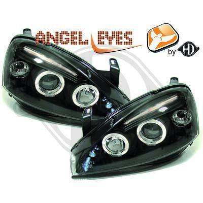 1813585, 1 paar Angel Eyes koplampen zwart voor Corsa C van 2000 tot 2006
