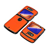 PUROOM HOBETRE Schutzhülle für Motorola Razr 5G, luxuriös, Carbonfaser, Leder, Hybrid-Hülle, vollständiger Schutz, stoßfest, für Motorola Razr 5G 2020 Version (Gelb)