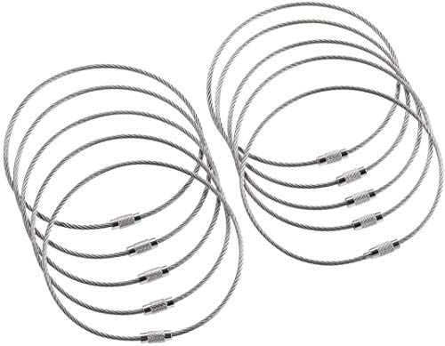 bayite BYT-WKC-054 10 Inch Stainless Steel Wire Keychains 2mm Cable Key Rings Heavy Duty Pack of 10