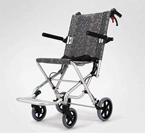 wheelchair Medizinischer Reha-Stuhl, Rollstuhl, zusammenklappbarer leichter Rollstuhl mit Handbremse und Aluminium-Rollstuhl Tragbarer Offroad-Reisestuhl mit Tasche