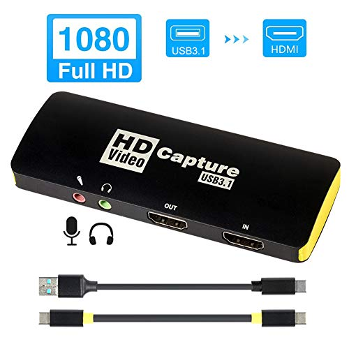 58bh Video Captures Card HDMI to USB Type C Video Game Recording Card 1080P HD Recorder Game/Video/Live Broadcasting Facebook Streaming Video Recording, Plug and Play