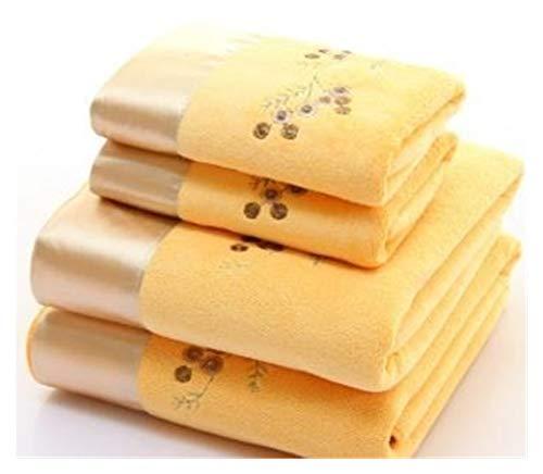JINSUOZY DXXLD - Juego de 2 toallas bordadas de microfibra, 1 toalla para la cara y 1 toalla de baño de secado rápido, toallas de baño para adultos (color: R, tamaño: 34 x 75 cm, 70 x 140 cm)