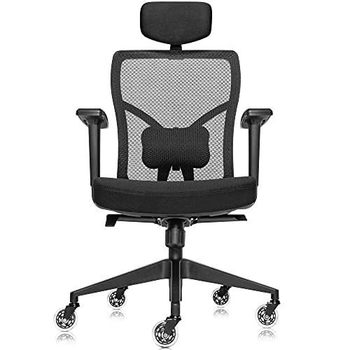 Ergonomic Mesh Office Chair with Roller Blade Wheels, Ridiculously Comfortable High Back Computer Desk Chair and Fully Adjustable, Black